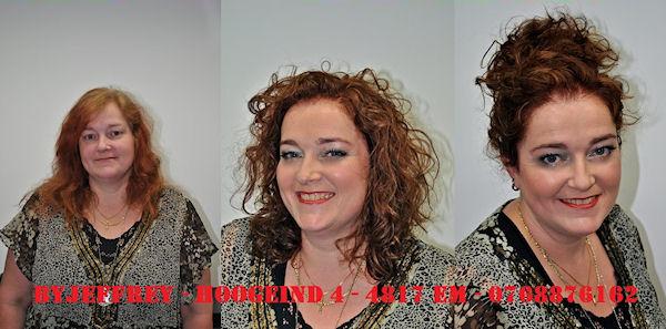 Hier hebben we de make-over van Liesbeth! We hebben het haar wat langer gelaten, zodat dit mooi om haar gezicht heen valt. De haarkleur hebben we aangepast aan de huidskleur van Liesbeth, zodat zowel haar huidskleur als haarkleur elkaar mooi uit laten komen. We hebben het haar ook opgefrist met lichtere plukken om er meer diepte en textuur in het haar te krijgen. We hebben Liesbeth verschillende mogelijkheden laten zien hoe ze haar haar in model kan brengen.